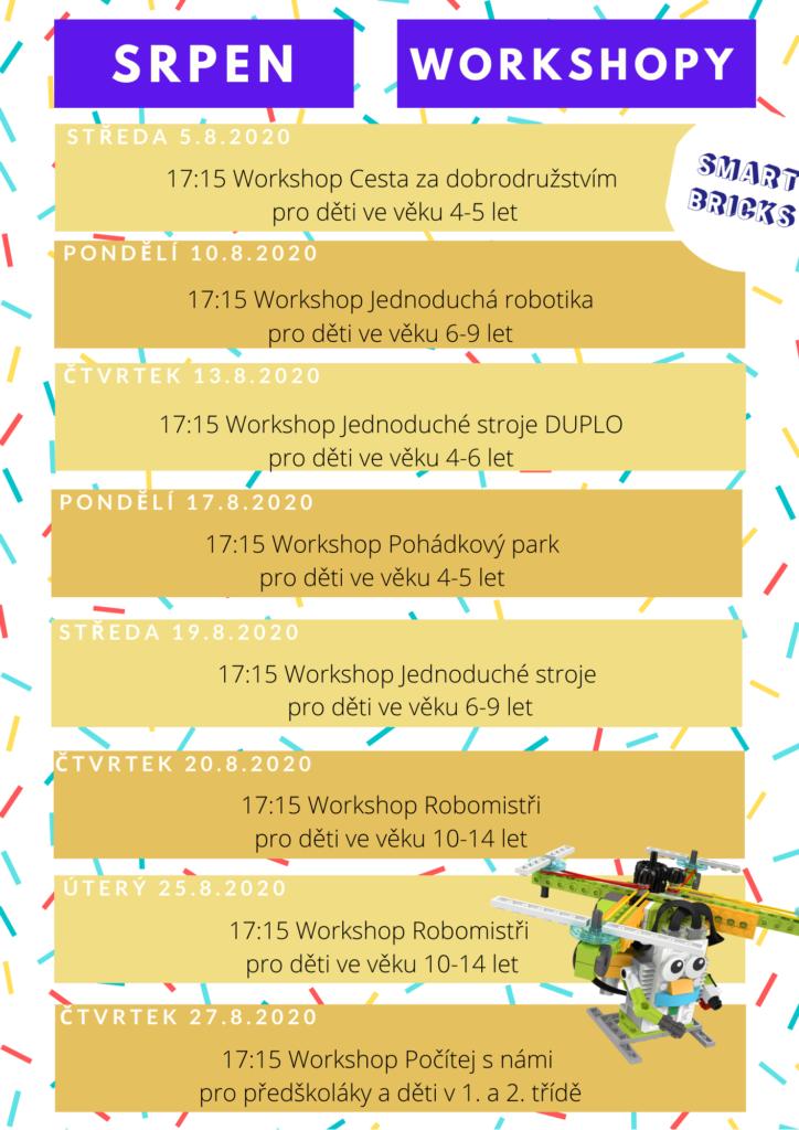 Přehledný rozvrh všech srpnových workshopů!